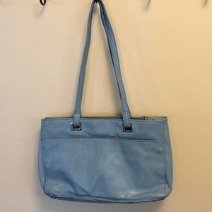 Perlina blue leather double strap purse